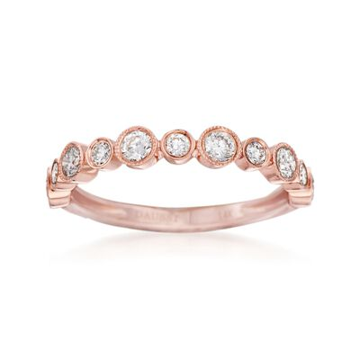 Henri Daussi .55 ct. t.w. Diamond Wedding Ring in 14kt Rose Gold, , default