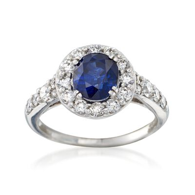 C. 2000 Vintage 1.58 Carat Sapphire and .70 ct. t.w. Diamond Ring in 14kt White Gold, , default