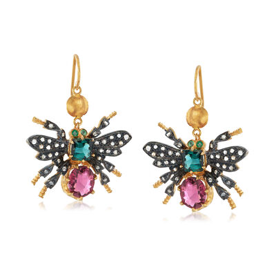 C. 1980 Vintage 3.30 ct. t.w. Multicolored Tourmaline and .30 ct. t.w. Diamond Bee Drop Earrings in Two-Tone Sterling Silver