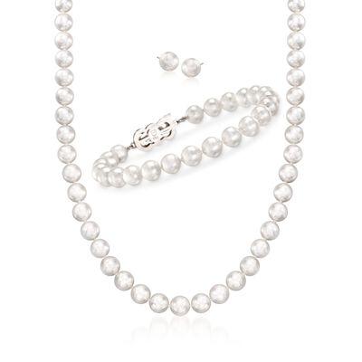 Mikimoto 4-7mm A1 Akoya Pearl Jewelry Set: Earrings, Bracelet, and Necklace with 18kt White Gold