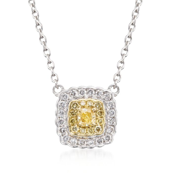 "Gregg Ruth .28 Carat Total Weight Yellow and White Diamond Necklace in 18-Karat Two-Tone Gold. 16"", , default"