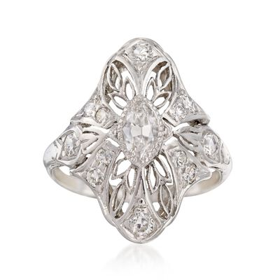 C. 1920 Vintage .58 ct. t.w. Diamond Navette Ring in Platinum, , default