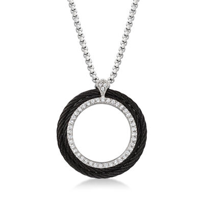 ALOR .36 ct. t.w. Diamond Open-Circle Black and Gray Cable Pendant Necklace with 18kt White Gold