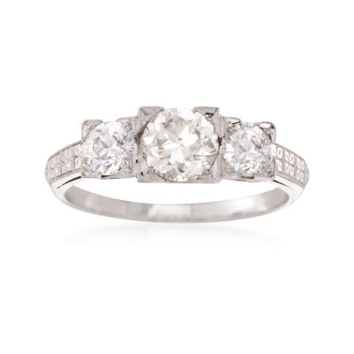 C. 1960 Vintage 1.40 ct. t.w. Diamond Three-Stone Engagement Ring in Platinum