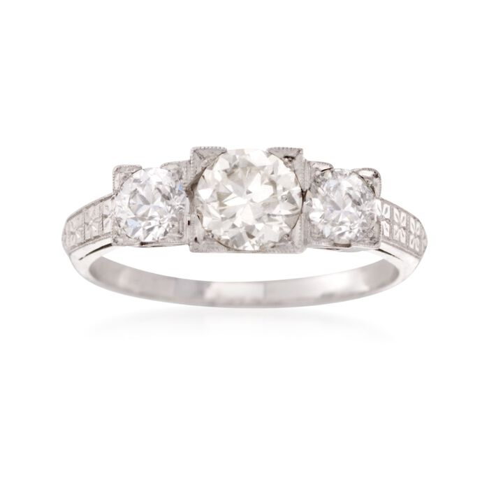 C. 1960 Vintage 1.40 ct. t.w. Diamond Three-Stone Engagement Ring in Platinum. Size 7.5, , default
