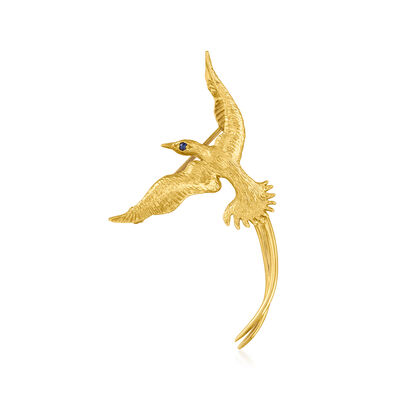 C. 1980 Vintage 14kt Yellow Gold Bird Pin with Sapphire Accent