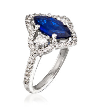 C. 1990 Vintage 1.85 Carat Sapphire and .75 ct. t.w. Diamond Ring in 18kt White Gold. Size 6.75, , default