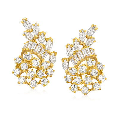 C. 1980 Vintage 4.65 ct. t.w. Diamond Cluster Clip-On Earrings in 18kt Yellow Gold