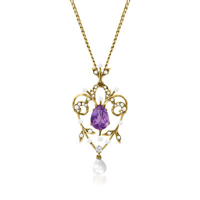 C. 1940 Vintage Cultured Pearl and 1.85 Carat Amethyst Scrollwork Pendant Necklace with Diamond Accents in 14kt Yellow Gold