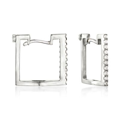 Roberto Coin .19 ct. t.w. Diamond Square Hoop Earrings in 18kt White Gold