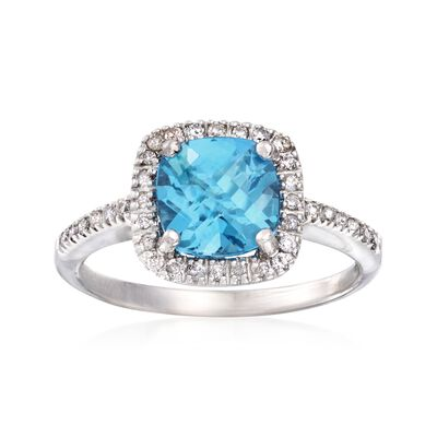 C. 2000 Vintage 1.75 Carat Blue Topaz and .25 ct. t.w. Diamond Ring in 14kt White Gold, , default