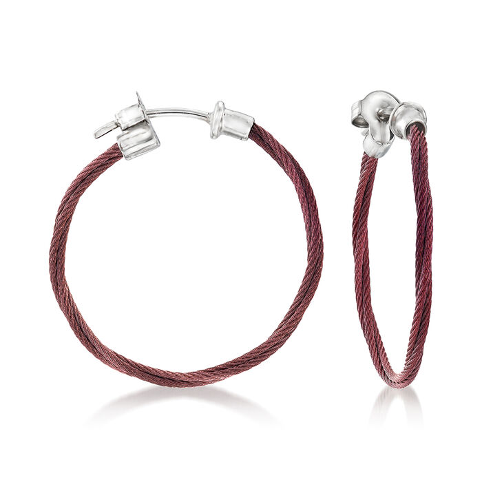 "ALOR ""Classique"" Burgundy Stainless Steel Hoop Earrings with 18kt White Gold. 1"", , default"