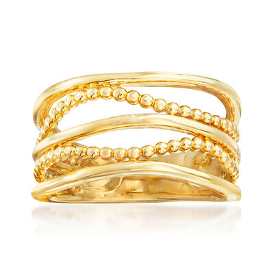 Gabriel Designs 14kt Yellow Gold Multi-Row Beaded Ring