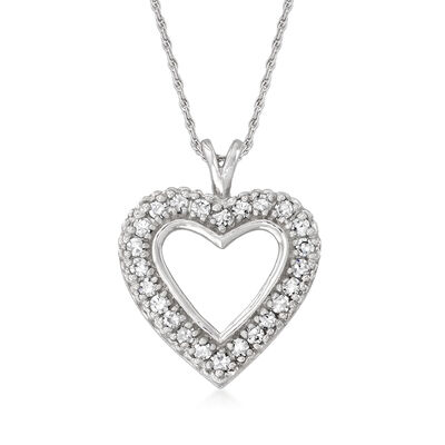C. 1980 Vintage .60 ct. t.w. Diamond Heart Pendant Necklace in 14kt White Gold