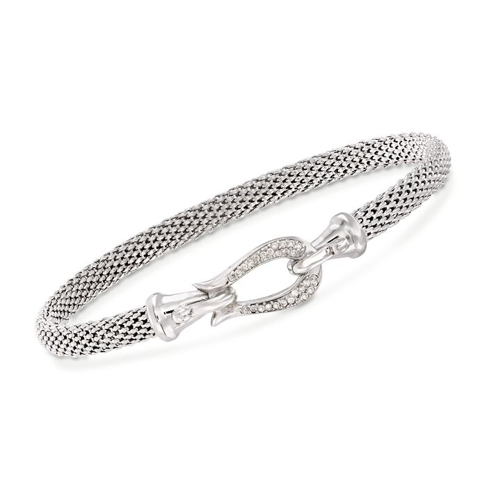 "Phillip Gavriel ""Popcorn"" .13 ct. t.w. Diamond Horseshoe Hook Bracelet in Sterling Silver. 7.25"""
