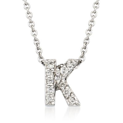 "Roberto Coin ""Love Letter"" Diamond Accent Initial ""K"" Necklace in 18kt White Gold, , default"