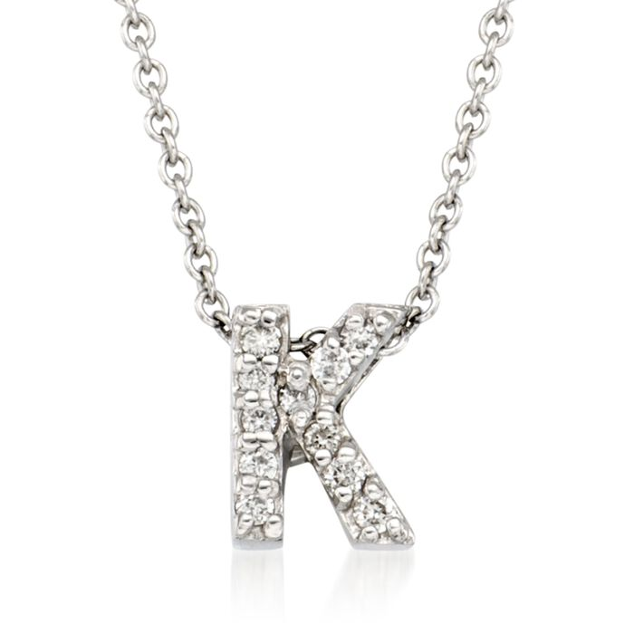 "Roberto Coin Tiny Treasures Diamond K Necklace in 18-Karat White Gold. 16"", , default"