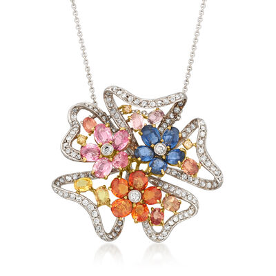 C. 1990 Vintage 7.00 ct. t.w. Multicolored Spinel Flower Pendant with 1.15 ct. t.w. Diamonds in 18kt White Gold