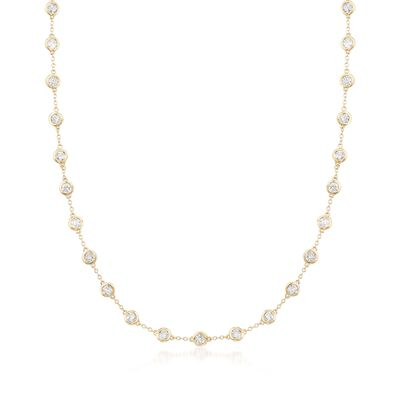 5.00 ct. t.w. Bezel-Set Diamond Station Necklace in 14kt Yellow Gold