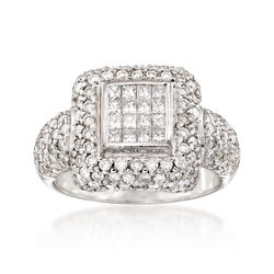 C. 1990 2.50 ct. t.w. Princess-Cut and Round Diamond Ring in 18kt White Gold, , default
