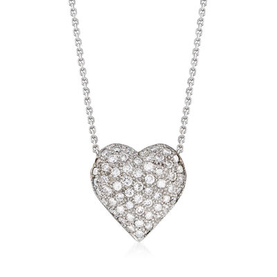 C. 1980 Vintage .80 ct. t.w. Pave Diamond Heart Necklace in 14kt White and 18kt Yellow Gold, , default