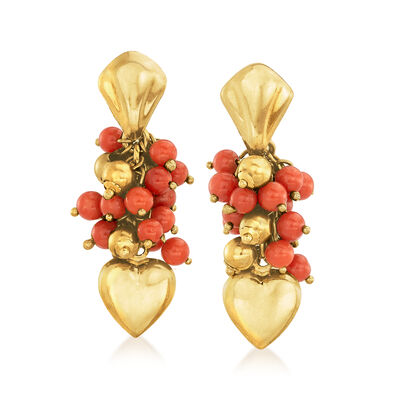 C. 1990 Vintage Red Coral Heart Drop Earrings in 18kt Yellow Gold