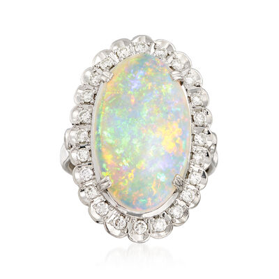 C. 1980 Vintage 19x11mm Opal and .46 ct. t.w. Diamond Ring in Platinum, , default