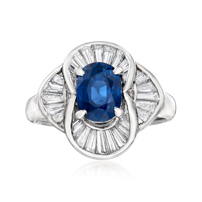 C. 1980 Vintage 2.06 Carat Sapphire and .83 ct. t.w. Diamond Ring in Platinum, , default