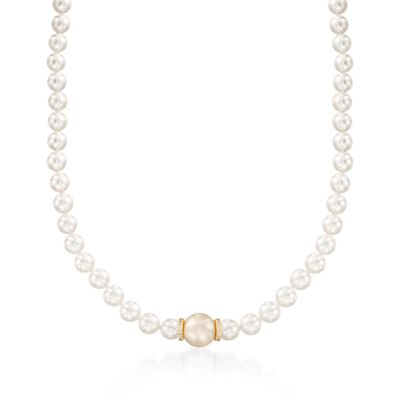 "Mikimoto ""Everyday"" 7-7.5mm A+ Akoya and 11mm Golden South Sea Pearl Necklace with Diamonds in 18kt Yellow Gold"