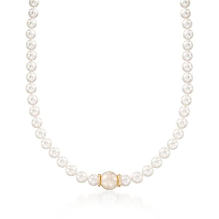 """Mikimoto """"Everyday"""" 7-7.5mm A+ Akoya and 11mm Golden South Sea Pearl Necklace with Diamonds in 18kt Yellow Gold"""