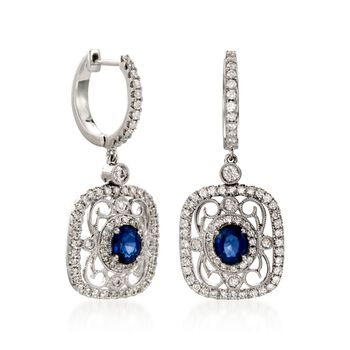 Simon G. .82 Carat Total Weight Sapphire and .78 Carat Total Weight Diamond Drops in 18-Karat White Gold