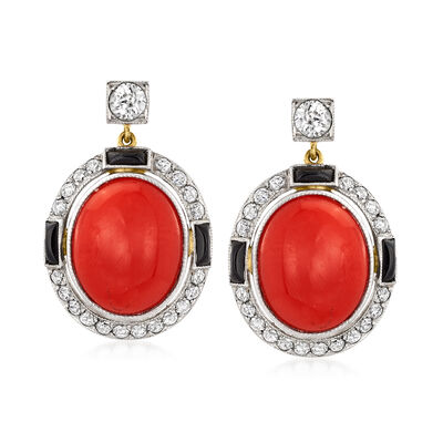 C. 1950 Vintage Red Coral, Black Onyx and .85 ct. t.w. Diamond Drop Earrings in Platinum and 14kt Yellow Gold