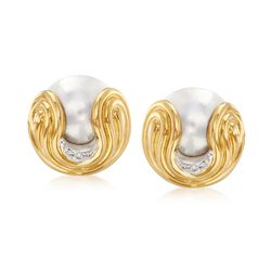 C. 1980 Vintage Wempe 16mm Mabe Pearl and .10 ct. t.w. Diamond Earrings in 18kt Yellow Gold, , default