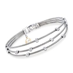 "ALOR ""Classique"" .18 ct. t.w. Diamond Gray Multi-Row Cable Bracelet With 18kt White Gold, , default"