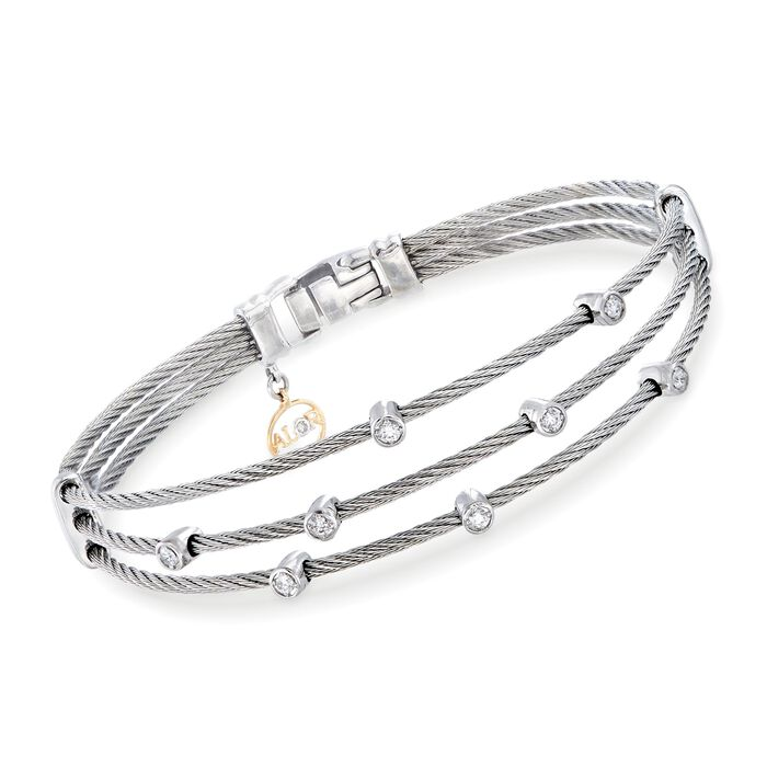 "ALOR Classique .18 Carat Total Weight Gray Multi-Cable Bracelet With 18-Karat White Gold. 7"", , default"