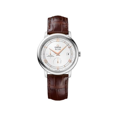 Omega De Ville Prestige Men's 39.5mm Stainless Steel Watch with Brown Leather Strap, , default