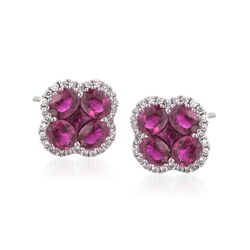 Gregg Ruth 2.65 ct. t.w. Ruby and .28 ct. t.w. Diamond Floral Stud Earrings in 18kt White Gold, , default