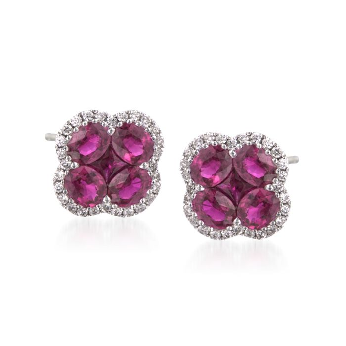 Gregg Ruth 2.65 Carat Total Weight Ruby and 0.28 Carat Total Weight Diamond Studs in 18-Karat White Gold, , default