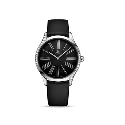 Omega De Ville Tresor Women's 39mm Stainless Steel Watch with Diamonds and Black Fabric