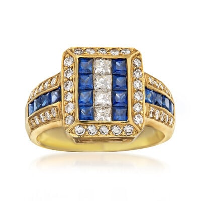 C. 1990 Vintage 1.75 ct. t.w. Sapphire and 1.10 ct. t.w. Diamond Ring in 18kt Yellow Gold, , default