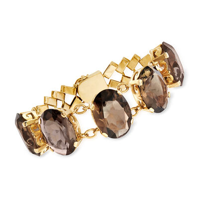 C. 1950 Vintage 93.00 ct. t.w. Smoky Quartz Bracelet in 14kt Yellow Gold , , default