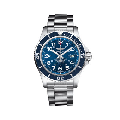 Breitling Superocean II Men's 44mm Stainless Steel Watch - Blue Dial, , default