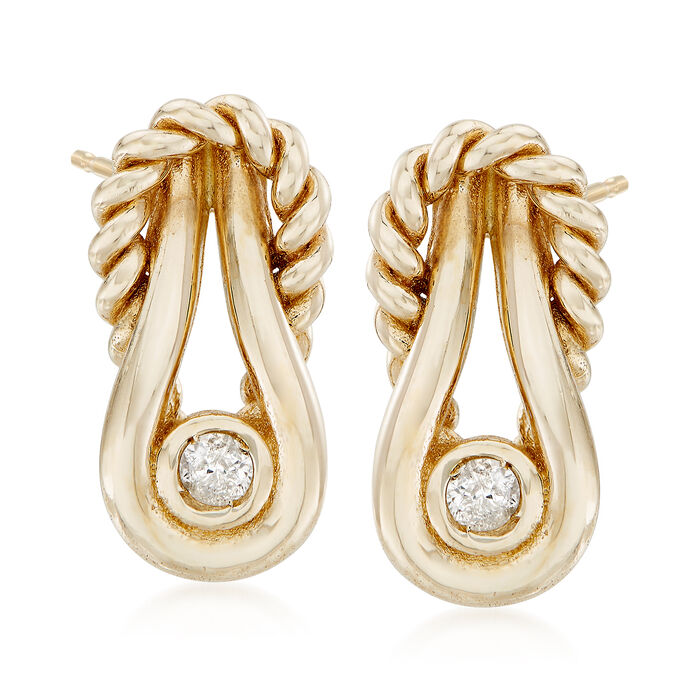 """Phillip Gavriel """"Italian Cable"""" 14kt Yellow Gold Earrings with Diamond Accents"""