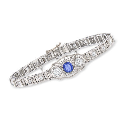 C. 1950 Vintage 1.30 ct. t.w. Diamond and .60 ct. t.w. Sapphire Bracelet in 14kt White Gold