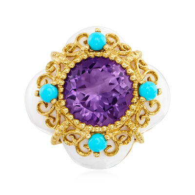 C. 2000 Vintage 2.60 Carat Amethyst Ring with Turquoise and White Agate in 14kt Yellow Gold