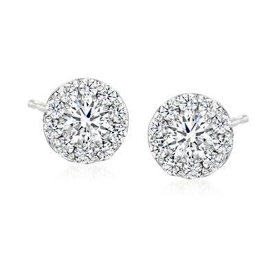 C. 2000 Vintage 1.50 ct. t.w. Diamond Cluster  Earrings in 18kt White Gold
