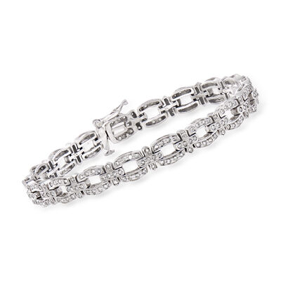 C. 1990 Vintage 2.25 ct. t.w. Diamond-Link Bracelet in 14kt White Gold
