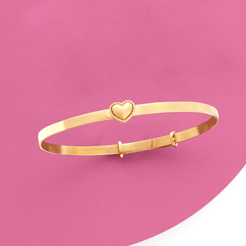 "Baby's 14kt Yellow Gold Heart Bangle Bracelet. 5"", , default"