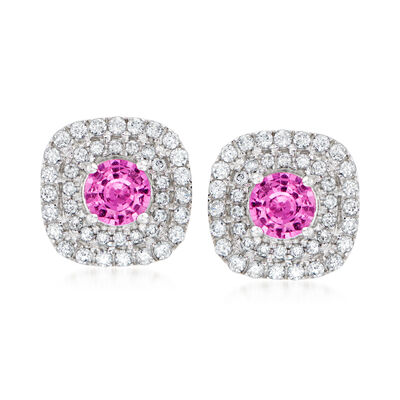 C. 1980 Vintage .80 ct. t.w. Pink Sapphire and .49 ct. t.w. Diamond Earrings in 18kt White Gold