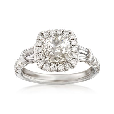 Henri Daussi 1.53 ct. t.w. Diamond Halo Engagement Ring in Platinum    , , default